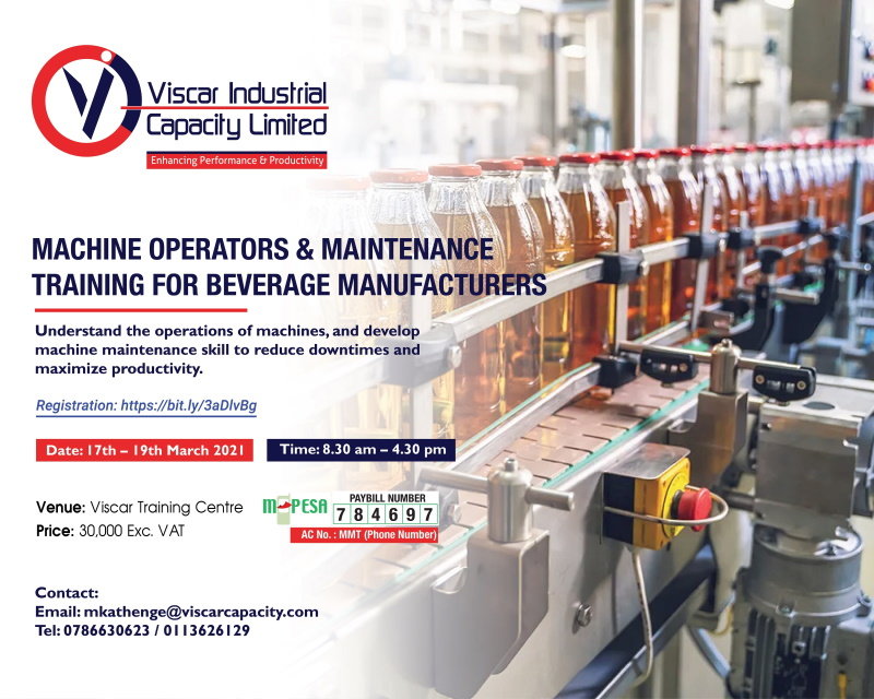 Machine Operators and Mantainance Training For Beverage Manufacturers